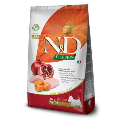 N&D Pumpkin Grain Free Пилешко и Калинка  ADULT MINI 7 кг